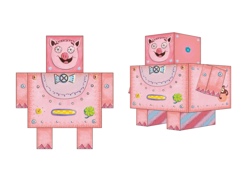 Piggy Bank, Papercut robots, character design