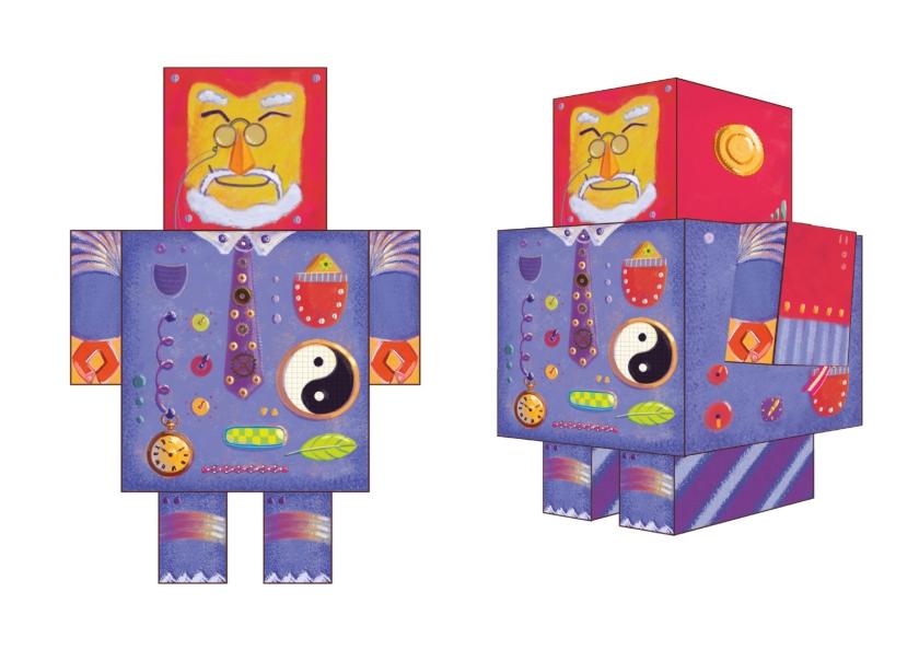 Papercut robots, character design